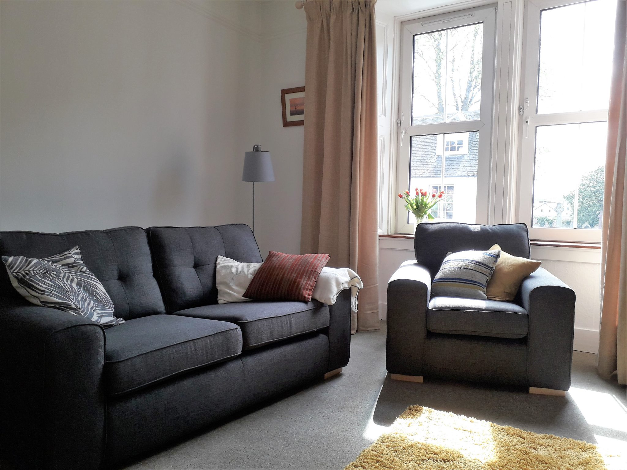 Living room showing grey 2 seater sofa and an armchair in front of a large windowwith a vase of tulips on the window sill