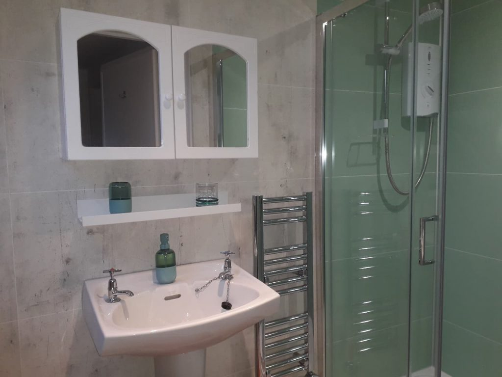 Shower,wash basin,cabinet, towel rail