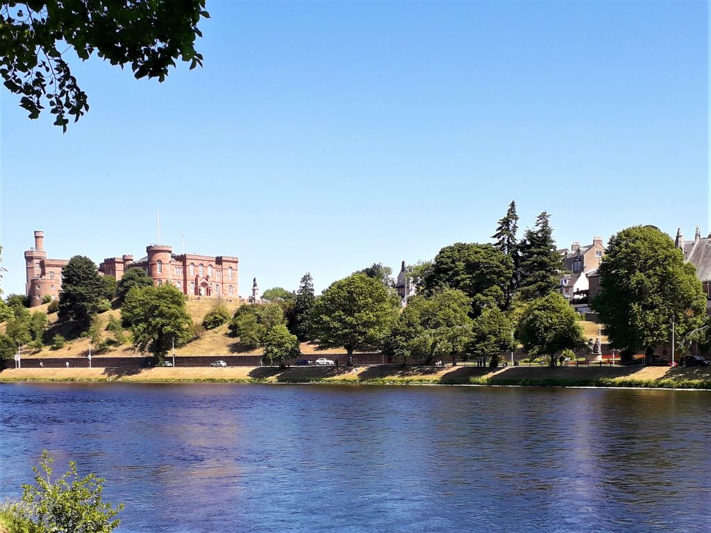 View of Inverness Castle with River Ness flowing below