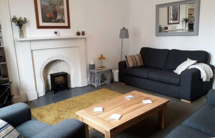 2 Grey comfortable sofas and armchair,fireplace with electric stove,coffee table and large wall mirror